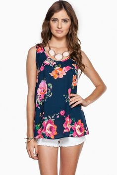 A simple, flowy tank top is detailed with a floral print.