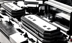 Lata 1975-1977 , Rejon Opola od Placu Wolności do skrzyżowania Ozimska-Reymonta. Centralny segment koncepcji architektonicznej zagospodarowania terenu z widocznym jedynym zrealizowanym elementem tej układanki, wieżowcem-biurowcem na Ozimskiej 19.