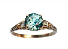 1940s Blue Topaz and Diamond Ring (in the online shop)