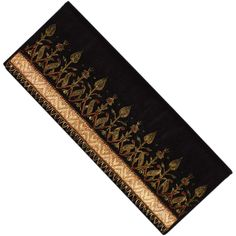 Vintage 80s Clutch Purse Black w/ Gold Embroidery Envelope Style - India