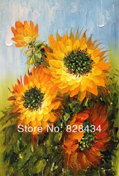 Free shipping, hand-painted wall art palette knife with high quality oil painting on the canvas sunflower, home decoration(China (Mainland))