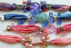 fabric beaded bracelets! I love these!! Ribbon Bracelets, Ribbon Jewelry, Jewelry Crafts, Jewelry Art, Beaded Jewelry, Jewelry Bracelets, Jewelry Design, Handmade Bracelets, Bangles