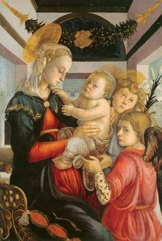 Sandro Botticelli (Alessandro di Mariano di Vanni Filipepi) (1445 – 1510)  Madonna and Child with two Angels  Tempera and oil on panel, 1460-1465  86.7 x 57.8 cm  Washington, National Gallery of Art, USA