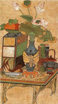 Art And Illustration, Korean Painting, Modern Pictures, Korean Art, Chinoiserie, Tea Party, Folk Art, Oriental, Diy And Crafts