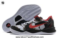 more photos 450a6 837af Authentic Nike Zoom Kobe 8 (VIII) Basketball Shoes White Black Red Style  For Wholesale
