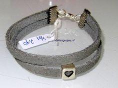 leren armband suede grijs met ster