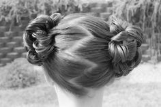 Princess Piggies: Flower Buns.  Super fast and no bobby pins required!