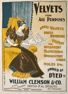 1896 Vintage Print AD for William Clemson & Co. Dyers & Printers of VELVET in Manchester UK.