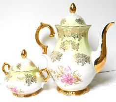 vintage floral tea set porcelain tea set floral by MinoucBrocante