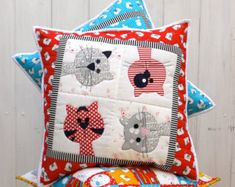 Pip and Ellie Applique Cushion PDF Pattern by claireturpindesign