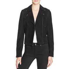 rag & bone/Jean Mercer Suede Moto Jacket ($740) ❤ liked on Polyvore featuring outerwear, jackets, black, suede biker jacket, biker jackets, moto jacket, suede motorcycle jacket and motorcycle jacket