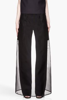 Maison Martin Margiela Black Sheer Skirt Layered Trousers in Black | Lyst