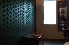 skulls wallpaper bronze on oil slick Drew McConnell Babyshambles London