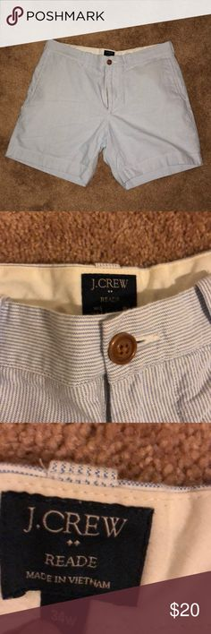 """J. Crew Read Seersucker shorts J. Crew Seersucker """"stripped"""" shorts fabric is smooth and not raised just gives appearance of Seersucker! Size 12  or 34 but fits small . More like a slim 12 or large 10 J. Crew Shorts"""