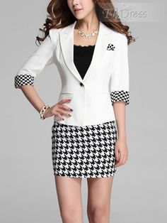 Houndstooth Patchwork One Button Womens Skirt Suit (Plus Size Available)