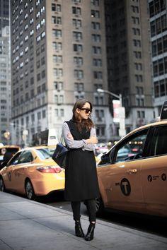 MIDTOWN | Fiona from thedashingrider.com wears Zara Vest, Zara Jeans, a Saint Laurent Bag and Zign Boots #ootd #whatiwore #petite