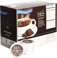 Amazon.com : Café Escapes Hot Cocoa, Dark Chocolate, K-Cup Portion Pack for Keurig Brewers, 24-Count : Hot Cocoa Mixes : Grocery & Gourmet Food