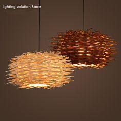 Pendant Lights Star Wish Hemp Ball Rattan Chandelier Bird Nest Lamp Retro Creative Living Room Restaurant Cafe Weaving Spherical Art Lamps