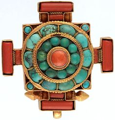 Coral and Turquoise Mandala Gau Box Pendant ...
