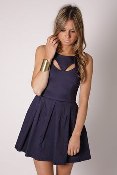 rome cut out bodice dress- navy