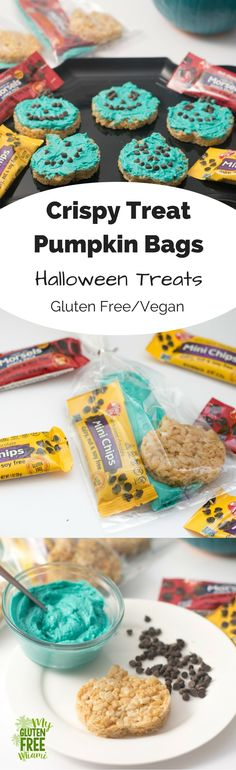 Enjoy trick or treating with fun DIY gluten free treats! Top pumpkin crispy treats with icing and decorate with Enjoy Life Snack Bag Baking Chips! via @glutenfreemiami