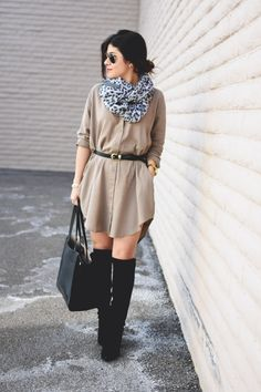 Shirt Dress via Pink Blush Boutique. #springfashion #dress #fashionblogger #ootd #lotd #otkboots #leathertote #rayban #aviator #animalprintscarf