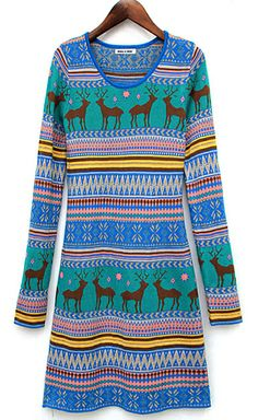 Deer Pattern Sweater Dress