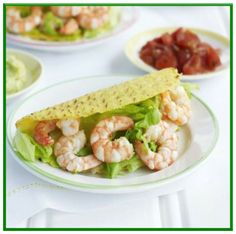 Shrimp tacos   http://www.ibssanoplus.com/low_fodmap_recipe_shrimp_tacos.html