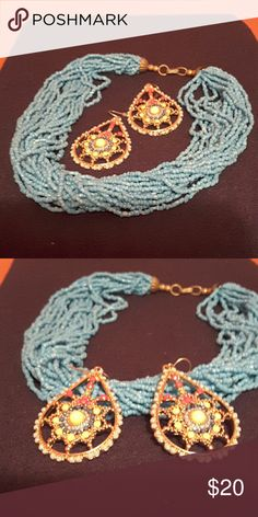 Necklace and earings Baby blue multi-strand necklace paired up with these pretty earings Jewelry Necklaces
