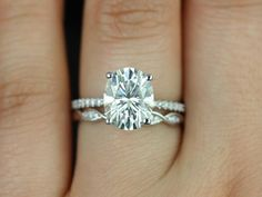 Darcy+&+Ember+14kt+White+Gold+Oval+FB+Moissanite+and+by+RosadosBox,+$2,745.00