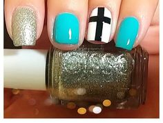 love the cross! but change out the colors to all nude Cross Nail Art, Cross Nails, Get Nails, How To Do Nails, Hair And Nails, Pretty Toes, Pretty Nails, Spring Nails, Summer Nails