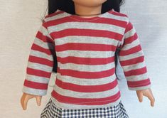 Red Stripe Doll T-Shirt, 18 Inch Doll Top, Long Sleeve Tee Shirt, Trendy Doll Clothes, 18 Inch Doll Clothes by MyLittleBrownBirdCo on Etsy Long Sleeve Tee Shirts, T Shirt, 18 Inch Doll, Grey Stripes, Knitted Fabric, Doll Clothes, Men Sweater, Fashion Outfits, Dolls