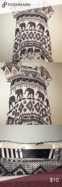 Elephant and Tribal Blouse Slightly see though material, cream color, dark blue/almost gray designs , short sleeve, flare bottom Tops Tees - Short Sleeve