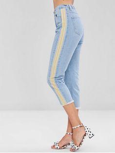 37577979391 Striped Frayed Hem Jeans - DENIM BLUE XL Frayed Hem Jeans