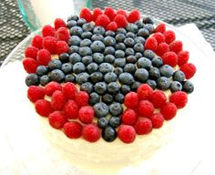 4th of july star cake with blueberries and raspberries #food