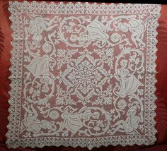 Handmade figural filet lace tablecloth circa early 1900s (Image1)