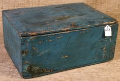 Great Early Blue Painted Document Box