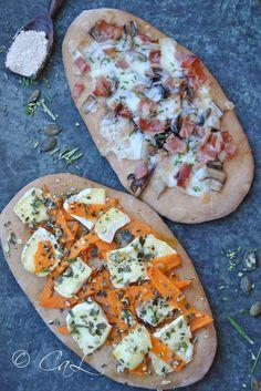 Focaccine di farina di castagne con verdure invernali e formaggio
