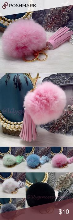 Pink pom pom key chain purse charm with tassel NWOT! Brand new!! Made with Rabbit fur & PU leather Gold hardware.  Size: (approx) Ball Diameter = 8cm  Its a keychain, you can also use it to put as purse charm, key fob or whatever your heart desires.   Great gift for your family, friends or your self.  ** color might be slightly different cause of the lightning  Great for your Louis Vuitton, Prada, Fendi, Chanel, Michael Kors, Gucci, Coach Tory Burch, Kate spade, Marc jacobs and others…