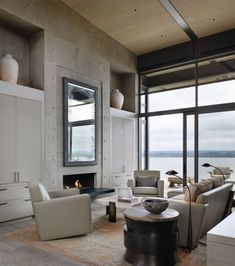 Love the mirror, windows and casual look of this room