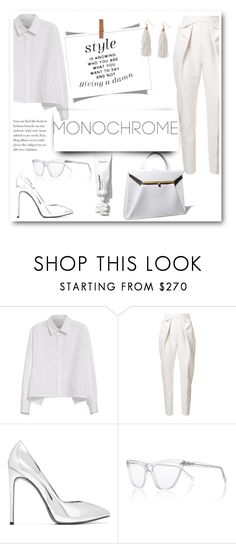 """""""total white style"""" by lianafourmouzi ❤ liked on Polyvore featuring Y's by Yohji Yamamoto, Delpozo, Yves Saint Laurent, Prism and Humble Chic"""