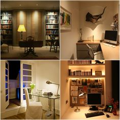 When thinking about  a home office, consider the practical usage of the work space and the time of day that it is most used. Home Office Lighting, Lighting Design, Corner Desk, Space, Inspiration, Furniture, Home Decor, Light Design, Corner Table