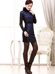 Women's Cotton Blue Mini Fur collar Peplum Lace Embroidery Winter Quilted Cheongsam Dress