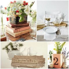 vintage books as wedding decor? Yes!