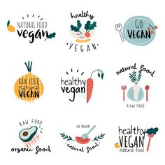 free vector of Set of healthy vegan logo vectors by filmful about food, logo, restaurant, vegetable and avocado 537984 Logo Restaurant, Food Logo Design, Logo Food, Web Design, Bakery Logo Design, Logo Branding, Branding Design, 3d Logo, Corporate Branding