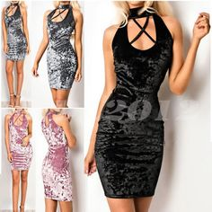 AU Womens Shiny Chocker Bodycon Dress Ladies Plunge Velvet Mini Dress Size 8-14 #ddl2012 #PencilDress #PartyDaily