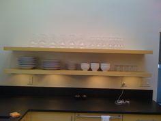 floating shelves with built in lighting