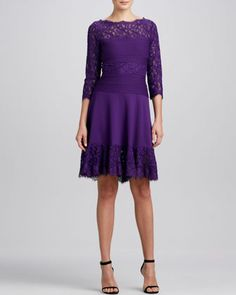 Lace Fit & Flare Cocktail Dress, Amethyst by Tadashi Shoji at Neiman Marcus.