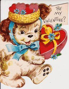 Vintage 1957 Be My Valentine Greetings Card B7 by poshtottydesignz