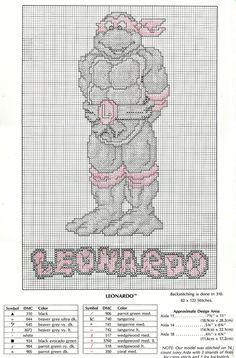 "https://flic.kr/p/83C9JL   Plaid Enterprises : 'Teenage Mutant Ninja Turtles' - "" LEONARDO and COWABUNGA"" Cross Stitch Patterns // LEONARDO (( 1990 ))   ☣ ☣"
